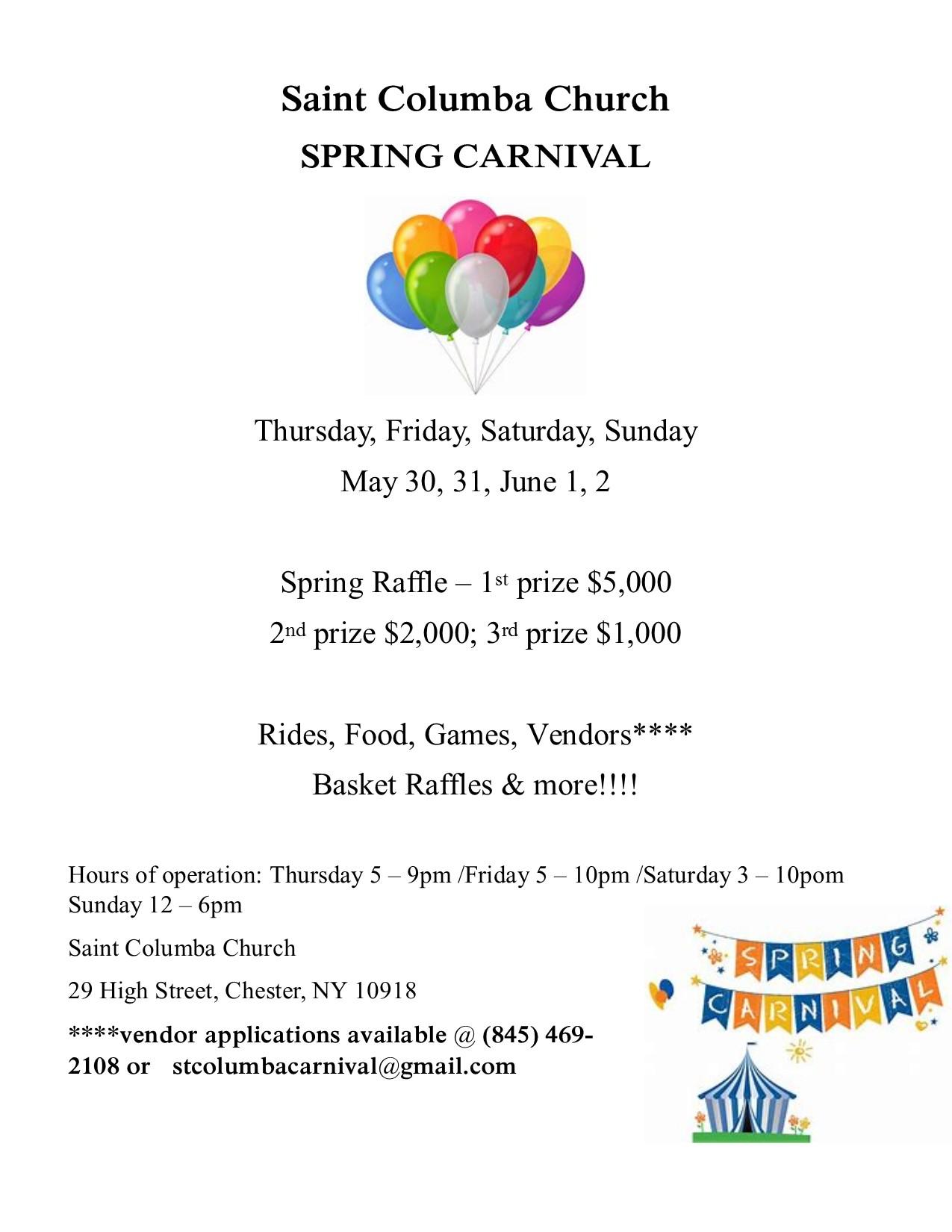 St  Columba Spring Carnival – Village of Chester New York