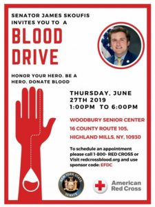 NYS SENATE INVITES YOU TO A BLOOD DRIVE @ WOODBURY SENIOR CENTER