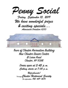 CHESTER PENNY SOCIAL 2019 @ TOWN OF CHESTER RECREATION BLDG
