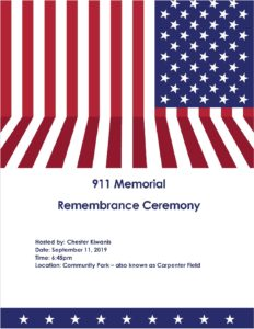 911 MEMORIAL REMEMBRANCE CEREMONY @ CHESTER COMMUNITY PARK AKA CARPENTER FIELD