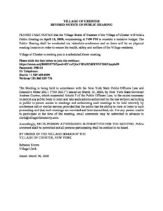PUBLIC HEARING APRIL 13, 2020 @ Village Hall Conference Room