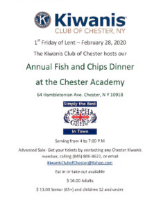KIWANIS ANNUAL FISH AND CHIPS DINNER @ CHESTER ACADEMY